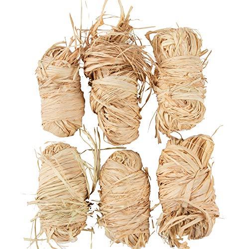 Genie Crafts 6-Pack Natural Raffia Bundles for Floral Arrangements, Packing, and Crafts, 50 Grams Each
