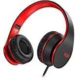 Sentey Headphone with Microphone for Travel Work Running Sport Kids Women Headphones Headset for Music Gaming Premium Mesh Cable Deluxe Carrying Case Included Ls-4225 PLUS New Driver Updated Flow Red