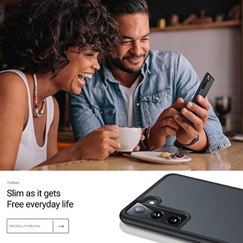 TORRAS Shockproof Designed for Samsung Galaxy S21 Plus Case 6.7 Inch, [6FT Military Drop Protection] [Semi-Clear] Matte Hard Back & Soft Edge Slim Case for S21 Plus 5G Guardian Series, Frost Black