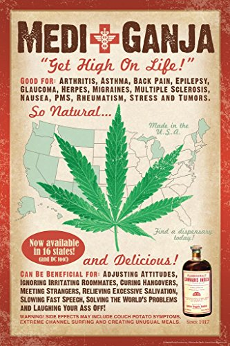 MediGanja Get High On Life Marijuana Funny Cool Wall Decor Art Print