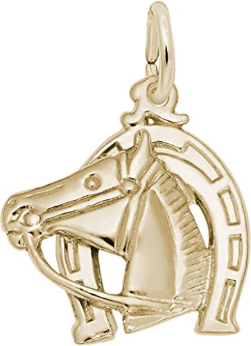 (Rembrandt Horse Head With Horseshoe Charm - Metal - Gold Plated Sterling Silver)