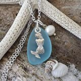 "Handmade in Hawaii, turquoise bay blue sea glass necklace,""December Birthstone"", mermaid charm, freshwater pearl, sterling silver chain, Hawaiian Gift, FREE gift wrap, FREE gift message"