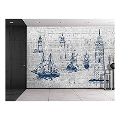 Astonishing Object of Art, Top Quality Design, Sketches of Lighthouses and Sailboats on a Brickwall Wall Mural