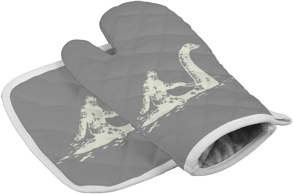 Bigfoot Sasquatch Riding The Loch Ness Monster Oven Gloves Microwave Gloves Barbecue Gloves Kitchen Cooking Bake Heat Resistant Gloves Combination