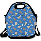 Best Picnic Plus Lunch Boxes - HOOAL Blue Mastiff Fabric Travel Picnic Lunch Bag Review