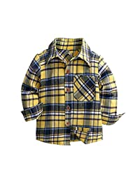 LOOLY Baby Boys Long Sleeve Button Down Plaid Flannel Shirt with Tie