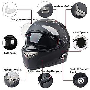 FreedConn Bluetooth Motorcycle Helmets Integrated Modular Flip up Dual Visors Full Face Built-in Bluetooth Mp3 Intercom Communication Range 500M FM Radio(Matte Black, XL)