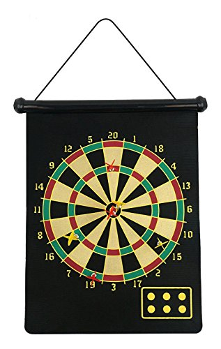 fusion Magnetic Dartboard Roll Up with 6 Magnet Darts Double Sided Kids...