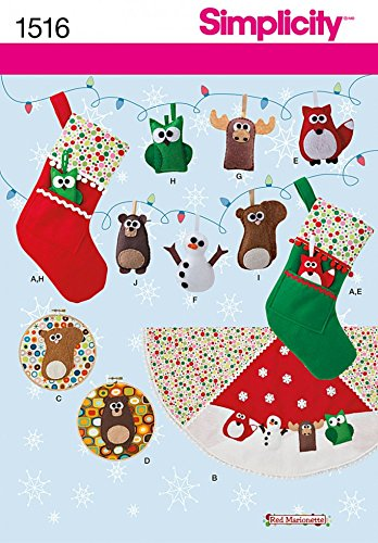 Felt Ornaments Patterns - Simplicity Patterns Felt Ornaments, Wall Hangings, Stocking and Tree Skirt