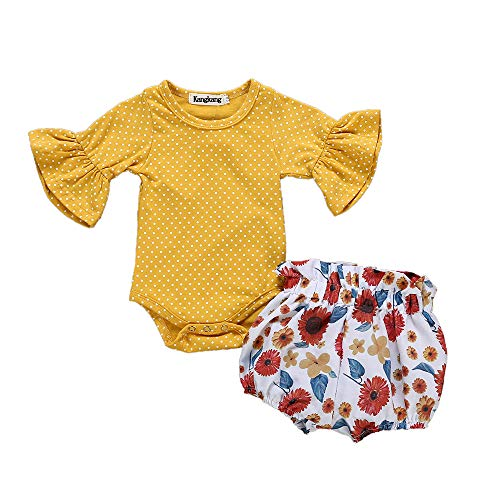 Newborn Baby Girl Clothes Flare Sleeve Romper + Floral Short Pants 2pcs Summer Outfit Set 6-12M Yellow -
