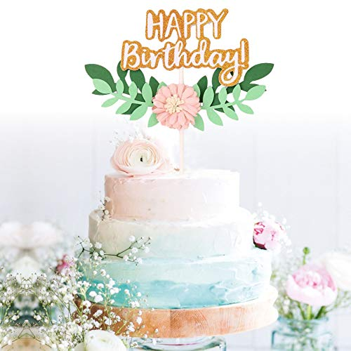 GrantParty Gold Happy Birthday Cake Topper Pink Flower and Leaves - Anniversary Party Decoration Photo -