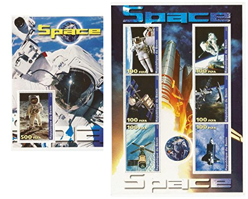 Space, Astronauts, Space Shuttle and Space Stations - A collection of 2 mint never hinged souvenir stamp sheets / Benin / 2003 (Mint Space Stamps)