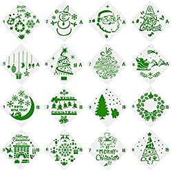 Petift 16 Pcs Christmas Stencils,Bullet Stencil Template Set-Merry Christmas,Santa Claus,Christmas Tree,Snowflakes,Reindeers,Jingle Bell,Snowman for Card DIY Drawing Painting Craft Projects