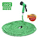 iPstyle Garden Hose, Flexible Expandable Outdoor Water Hose Reel 200FT 3/4 Solid Fittings, Durable and Lightweight with 7 in 1 Spray Nozzles Gun (Green - 200FT)