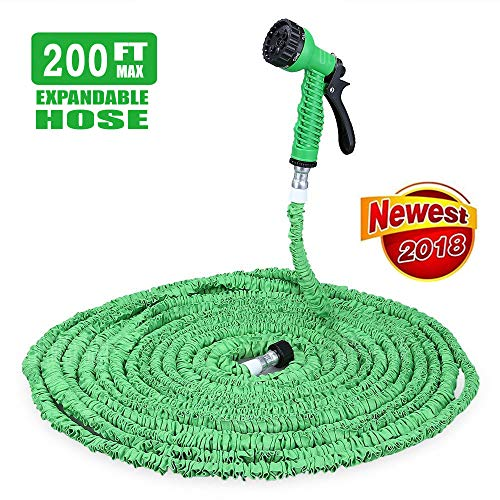 iPstyle Garden Hose, Flexible Expandable Outdoor Water Hose Reel 200FT 3/4 Solid Fittings, Durable and Lightweight with 7 in 1 Spray Nozzles Gun (Green – 200FT)
