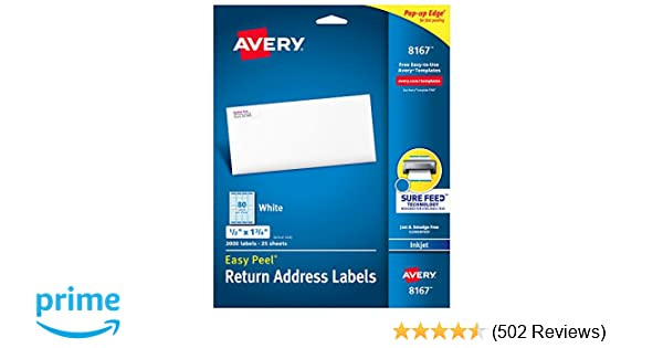 amazoncom avery address labels with sure feed for inkjet printers 05 x 175 2 000 labels permanent adhesive 8167 office products