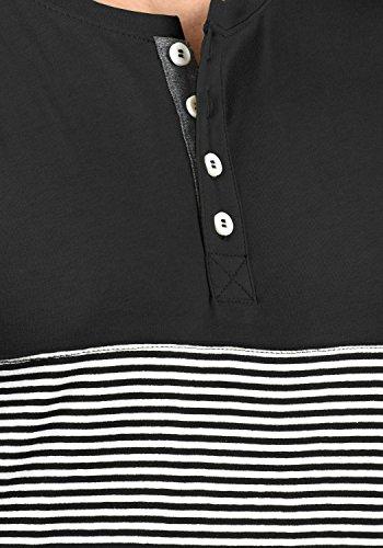 Black Camiseta Para Corta Rayas Básica solid Con Grandad De 9000 Manga Marek Cuello Hombre 7a5qTawZB