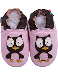 Carozoo Owl Pink S Unisex Baby Soft Sole Leather Shoes
