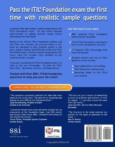 Buy Itil V3 Exam Prep Questions, Answers, & Explanations: 800+ Itil
