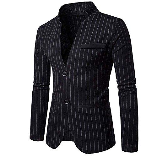 Cloudstyle Mens Slim Fit Suit Single Breasted Pinstripe Suit Jacket Sport Coat (Black, X-Large)