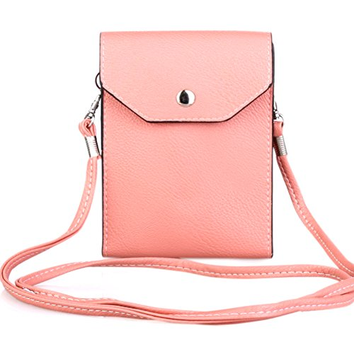 PU Leather 2 Layers Vertical Cellphone Pouch Bag with Shoulder Strap and Magnetic Button for Apple iPhone 7/iPhone 7 Plus Samsung Galaxy S7/S7 edge and Other Smartphone Pink