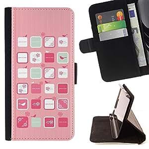 For Sony Xperia Z5 Compact Z5 Mini (Not for Normal Z5) Case , Pink Bird Art mujer femenina Flores- la tarjeta de Crédito Slots PU Funda de cuero Monedero caso cubierta de piel