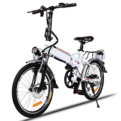 Foldable Bike 7 Speed 18.7'' Folding Mountain Bike with Removable Lithium-Ion Battery and Battery Charger[UK STOCK] by utheing