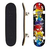 "Geelife Skateboard 7 Layers Decks 31""x8"" Pro Complete Skate Board Maple Wood Longboards for Teens Adults Beginners Girls Boys Kids (Vigour)"