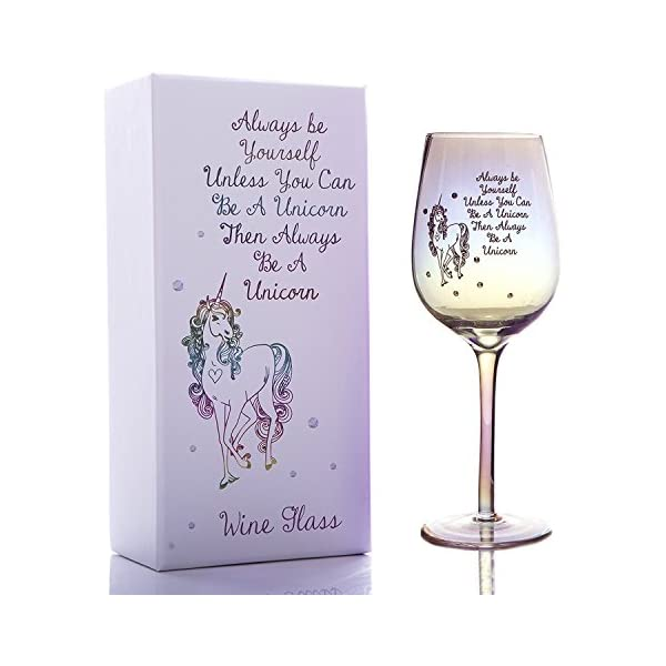 Bar Amigos Unicorn Vino 550ml de vidrio con Rhinestone gemas y lustre efecto Shimmer Madre de Perla arco iris en caja regalo único conjunto de rojo vino blanco vidrio siempre BE YOURSELF A menos que Usted puede ser un unicornio