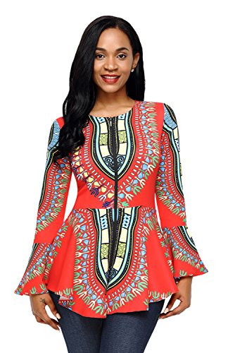 HOTAPEI Women African Printed Slim Fit Long Sleeve Fromal Party Tee Shirts Blouse Top Orange Large