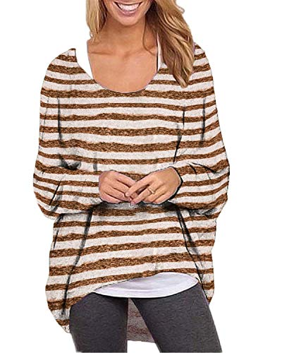 - ZANZEA Women's Batwing Long Sleeve Off Shoulder Stripe Oversized Baggy Tops Sweater Pullover Casual Blouse T-Shirt Brown S