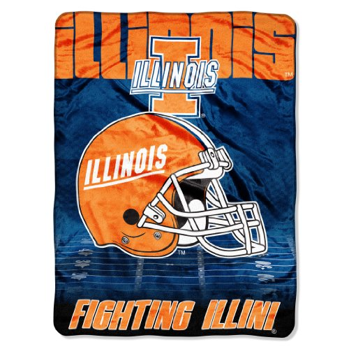 Officially Licensed NCAA Illinois Illini Overtime Micro Raschel Throw Blanket, 60