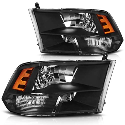 Headlight Assembly for 2009-2018 Dodge Ram 1500 2500 3500 Pickup Quad Headlamp Replacement, Black Housing Amber Reflector, One-year warranty (Passenger And Driver, Only for Quad Models)