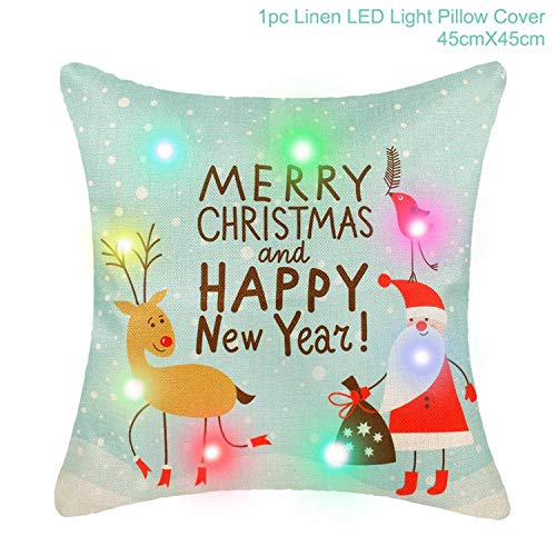Mydufish 45X45cm Pillow Case Christmas Decorations for Home Santa Clause Christmas Deer for $<!--$9.99-->