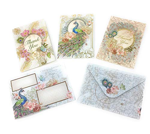 Punch Studio (67565) Lacy Peacock Blank Thank You Note Cards in Tri-Fold Vinyl Sleeve, 15 ct (5 ea of 3 designs) ()