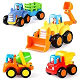 Toys : Coogam 4 Pack Friction Powered Cars Construction Vehicles Toy Set Cartoon Push and Go Car Tractor, Bulldozer, Cement Mixer Truck, Dumper for Year Old Boy Girl Toddler Baby Kid Gift