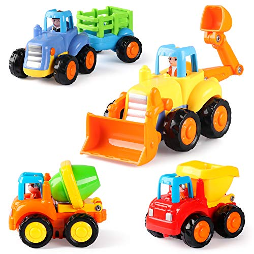 Coogam 4 Pack Friction Powered Cars Construction Vehicles Toy Set Cartoon Push and Go Car Tractor, Bulldozer, Cement Mixer Truck, Dumper for 1 2 3 Year Old Boy Girl Toddler Baby Kid Gift