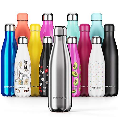 Proworks Botellas de Agua Deportiva de Acero Inoxidable | Cantimplora Termo con Doble Aislamiento para 12 Horas de Bebida Caliente y 24 Horas de Bebida Fria - Libre de BPA - 350ml – Plata Metalizado