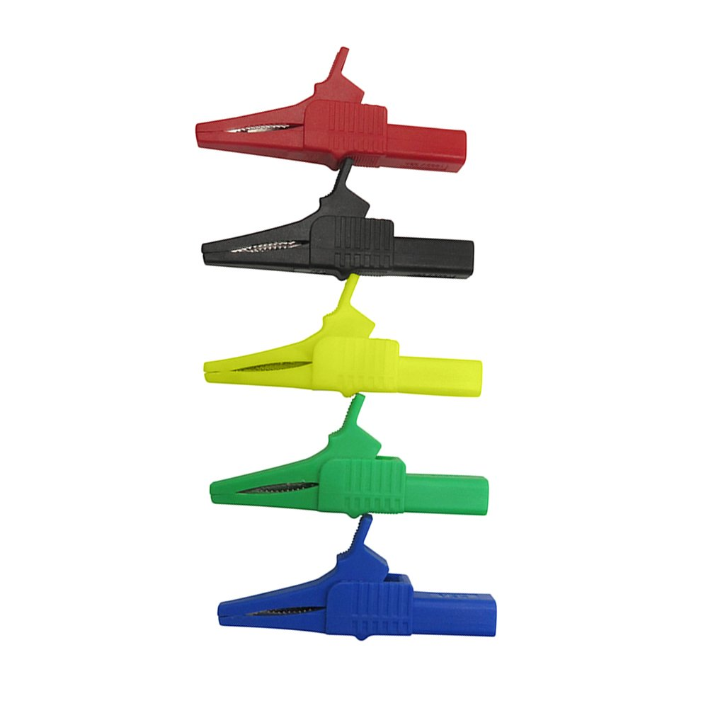 IPOTCH Cleqee P2003 5PCS 5 Color 32A 1000V Crocodile Alligator Folders Safety Test Clips For 4mm Shrouded Banana Plug Copper