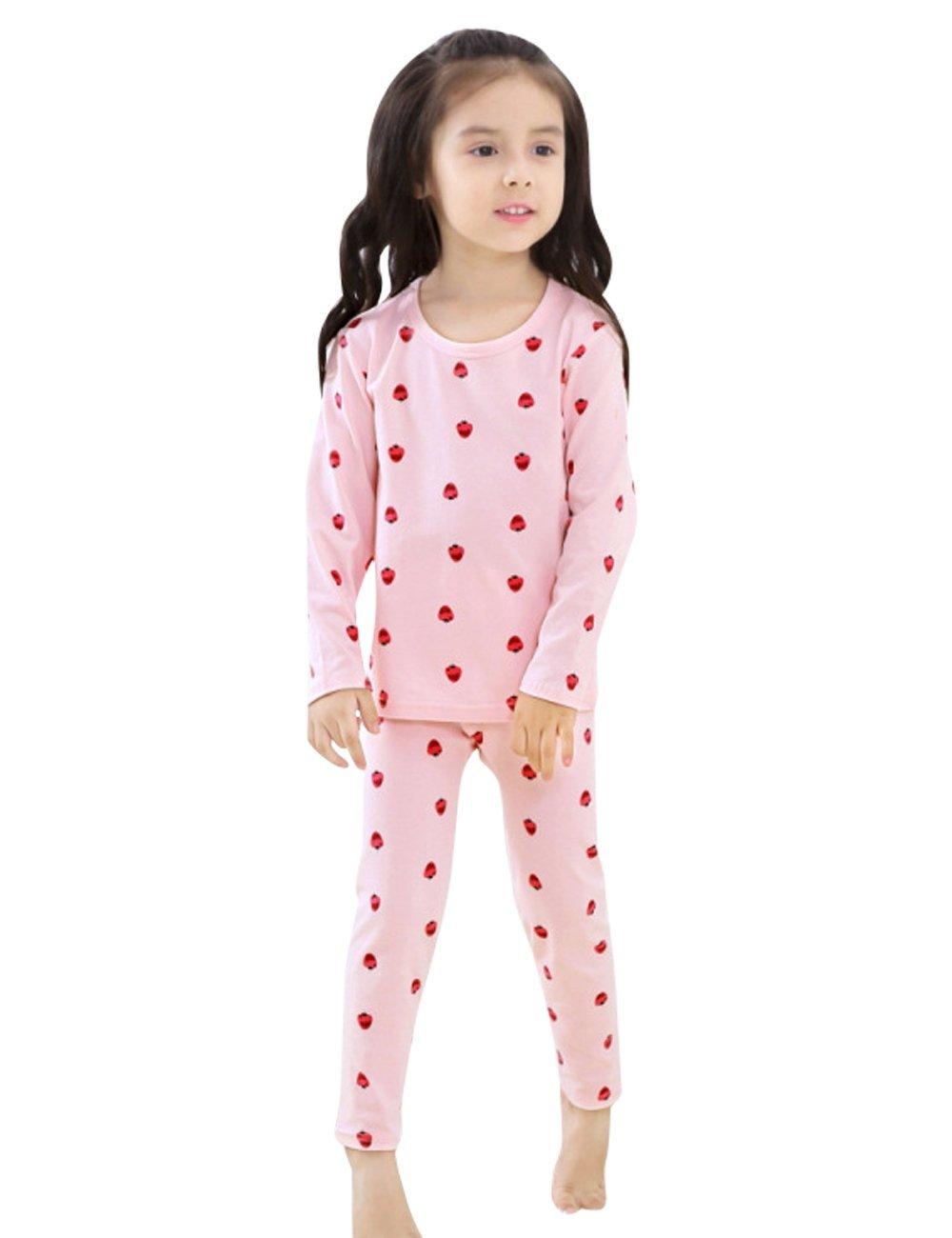 Menschwear Girl's Elastic Thermal Underwear Set Long Top and Bottom (110CM,Pink)