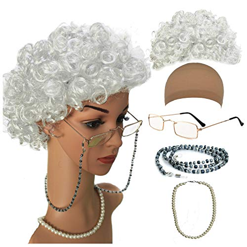 (Old Lady Cosplay Set - Grandmother Wig, Wig Cap,Madea Granny Glasses, Eyeglass Chains Cords Strap, Pearl Beads)