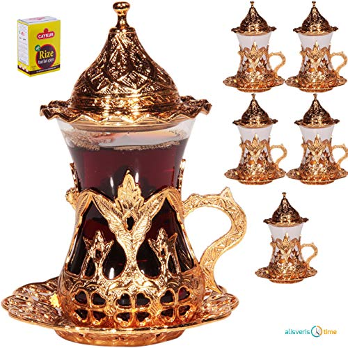 (SET OF 6) Handmade Turkish Tea Water Zamzam Serving Set Glasses Saucer (Gold) (Arabic Dishes Set)