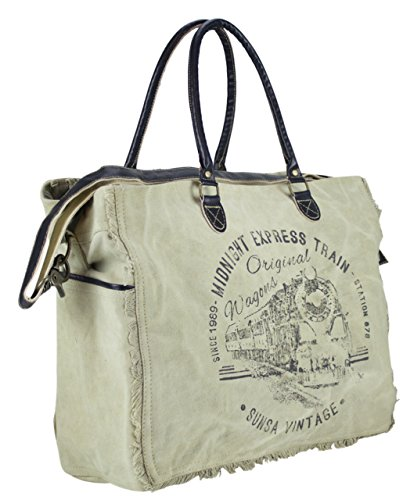 Sunsa Borse da Donna Vintage Borse a tracolla Borsette in Canvas / Telo olona con pelle 51815