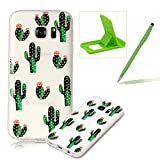 Clear Case for Samsung Galaxy S7 Edge,Soft TPU Cover for Samsung Galaxy S7 Edge,Herzzer Ultra Slim Pretty [Cactus Flower Pattern] Silicone Gel Bumper Flexible Crystal Transparent Skin Protective Case + 1 x Free Green Cellphone Kickstand + 1 x Free Green Stylus Pen