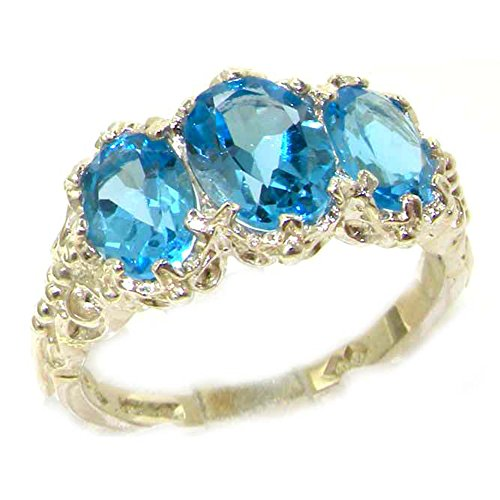 925 Sterling Silver Natural Blue Topaz Vintage Anniversary Ring - Size 8.5