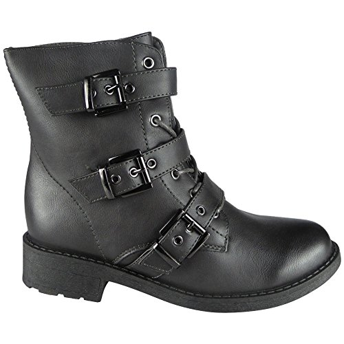 Grey Lace Boots Womens Combat Work Ankle Army Heel 8 Buckle Low Up Size 3 4OwSpq