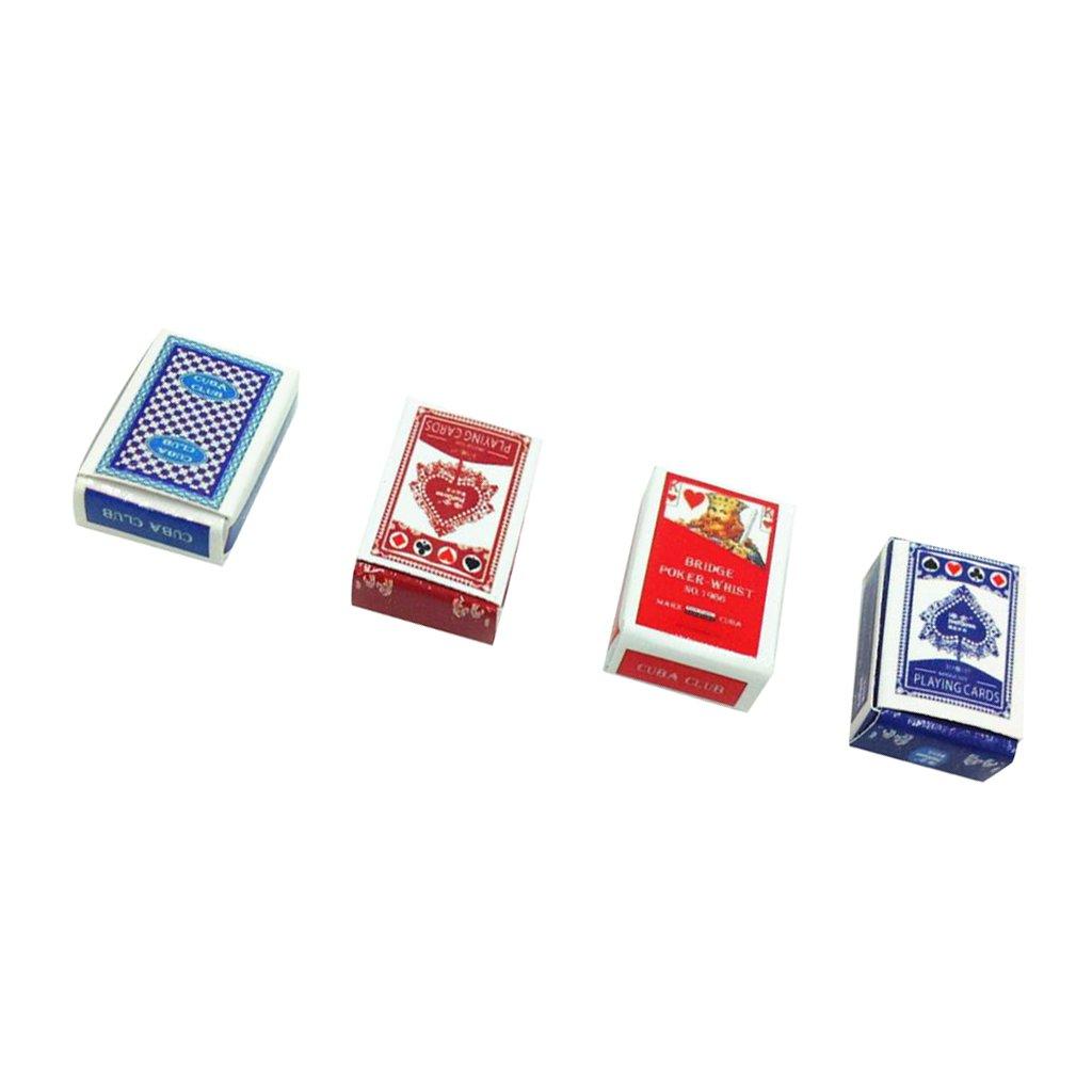 MagiDeal 2 Conjuntos de 1/12 Juegos Poker Paper Playing Cards en Miniatura para Dollhouse