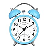 HENSE Classical Retro Twin Bell Mute Silent Quartz Movement Non Ticking Sweep Second Hand Bedside Desk Analog Alarm Clock with Nightlight and Loud Alarm HA01 (Blue)