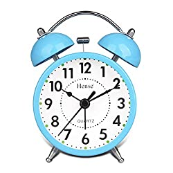 Travel Clocks Retro Twin Bell Alarm Clocks Mute Silent Quartz Movement Non Ticking Sweep Second Hand Bedside Desk Analog Morning Wake Up Alarm Clock with Nightlight Backlight and Loud Alarm HA01 Blue