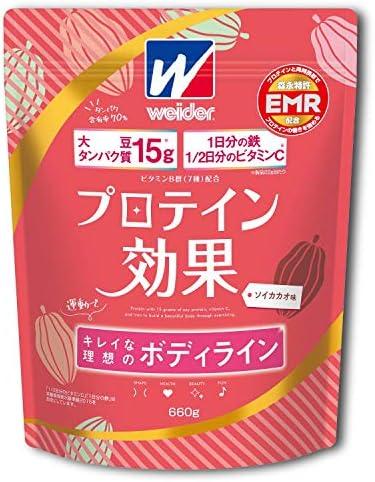 [スポンサー プロダクト]ウイダー プロテイン効果 ソイカカオ味 660g (約30回分) ソイプロテイン ボディメイク用プロテイン 鉄分 ビタミンC 特許成分EMR配合